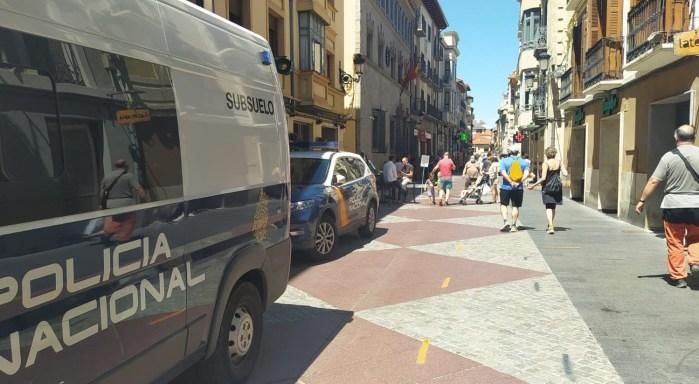 SEGURIDAD. Vehículos de la Policía Nacional, este martes, en Jaca. (FOTO: Rebeca Ruiz)