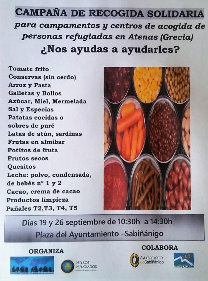 REFUGIADOS. Alimentos y otros productos que se recogen en la campaña solidaria de Sabiñánigo.