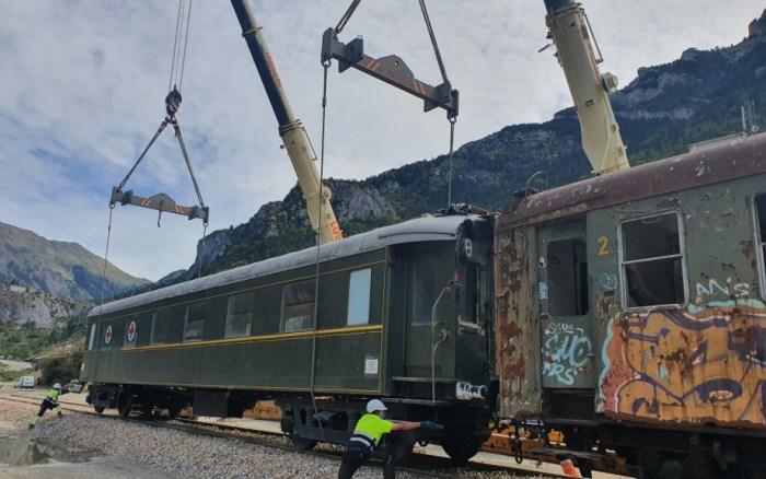 ESTACIÓN INTERNACIONAL. Traslado de vagones en Canfranc. (FOTO: Gobierno de Aragón)