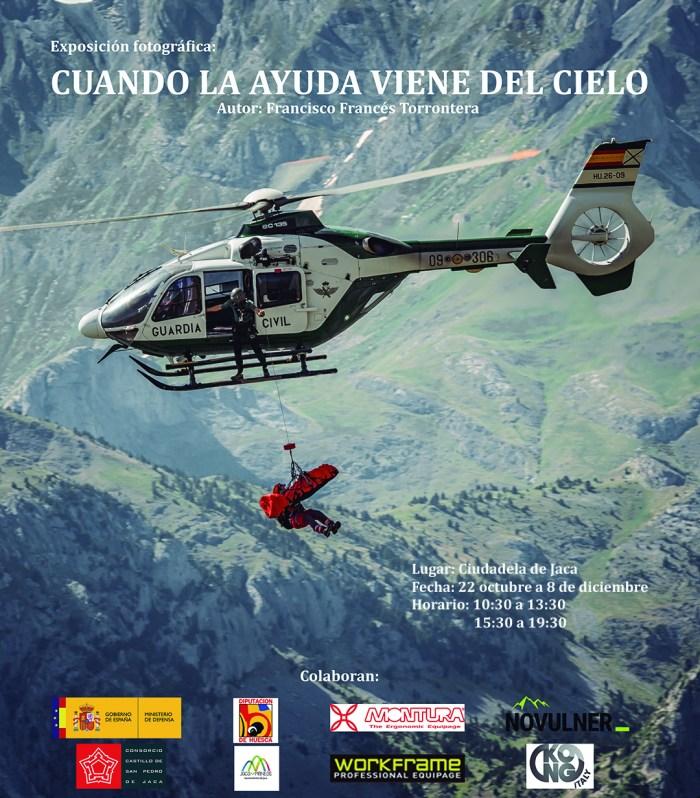 La obra fotográfica de Francisco Francés Torrontera, sobre los rescates en montaña, en la Ciudadela de Jaca. (FOTO: Francisco Francés Torrontera)