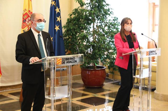 Las tres capitales confinadas y el resto de la comunidad pasa a fase 3, han explicado Lambán y Repollés. (FOTO: Gobierno de Aragón)
