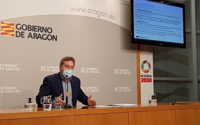 Soro, durante la presentación del proyecto de la línea internacional de Canfranc. (FOTO: Gobierno de Aragón)