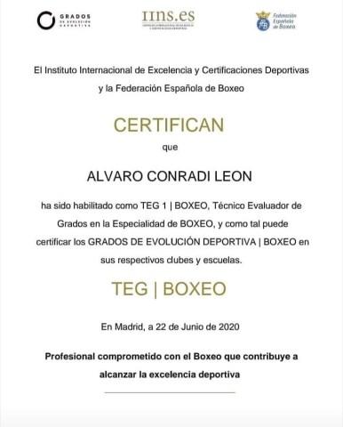 Álvaro Conradi es técnico evaluador de Grados en la especialidad de Boxeo.