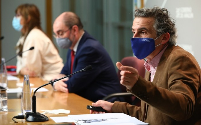 Un momento de la rueda de prensa del Gobierno de Aragón. (FOTO: Gobierno de Aragón)