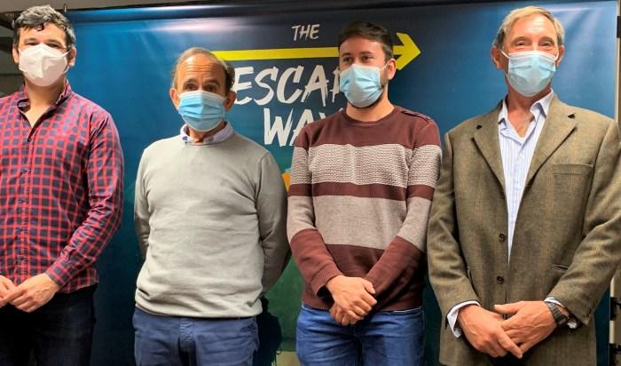 De izda. a dcha., Sánchez Morales, Salesa, Torres y Giménez, durante la presentación de la actividad que se estrenará en Arrés. (FOTO: AMCS)