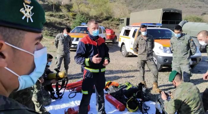Cooperación entre Protección Civil de la Jacetania y los militares que desplegarán en el Líbano.