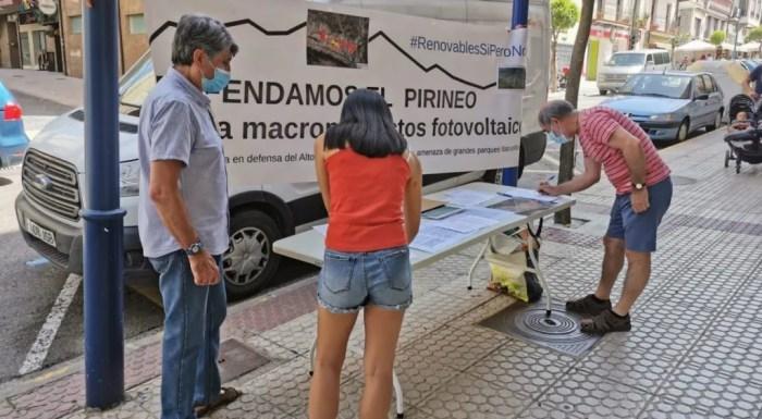 Nueva campaña de la Plataforma en defensa del paisaje y la vida en el Pirineo en Sabiñánigo y Jaca: mesas informativas en Sabiñánigo y Jaca.