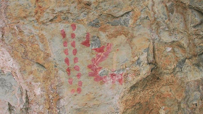 El Centro de Espeleología de Aragón da a conocer las cuevas y el arte rupestre de Salvatierra de Esca. Detalles del conjunto del Frontón de Forniellos. (FOTO: Aragón Subterráneo)