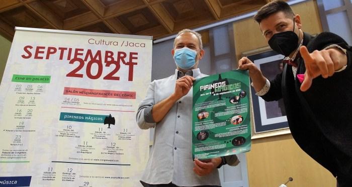 Diez años de ilusión con Pirineos Mágicos en Jaca. Javier Acín e Ismael Civiac, en la presentación de la edición de 2021. (FOTO: Rebeca Ruiz)