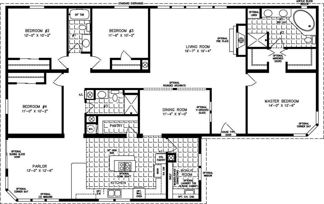 2000 Sq. Ft & Up Manufactured Home Floor Plan