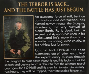 The back cover of the novel Stargate SG-1 by Ashley McConnell, featuring Colonel Jack O'Neill, played by Richard Dean Anderson