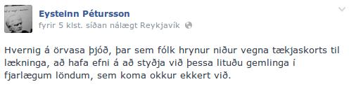 Stöðufærsla Eysteins á Facebook.