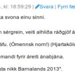 Miðað við tjáninguna þá er lýsingin í undirskrift þessa einstaklings ágætt dæmi um innrætið.