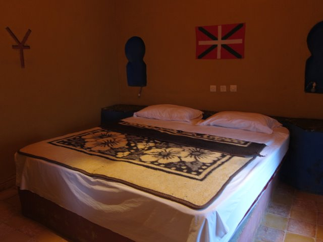 Our bed in Merzouga, Morocco