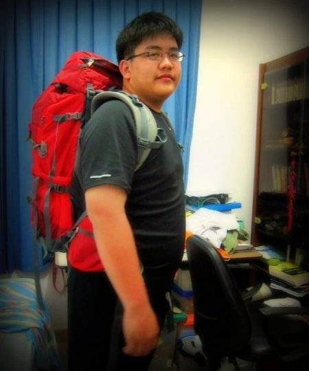 My brother, getting ready for his first backpacking trip