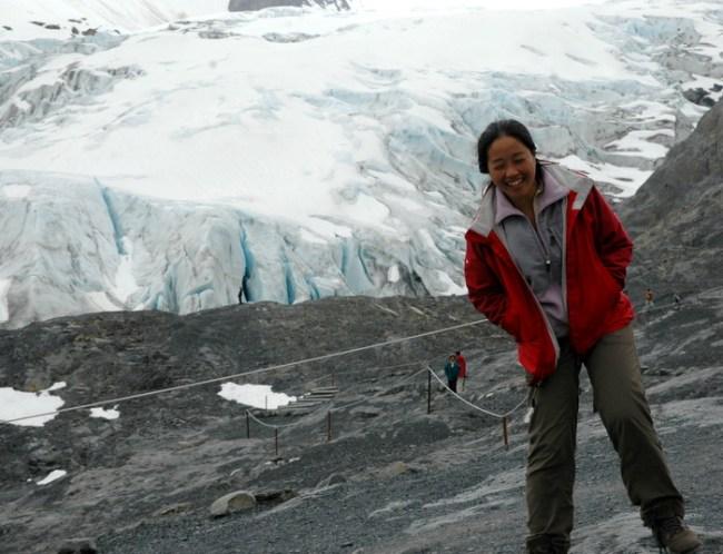 In front of a glacier in Alaska