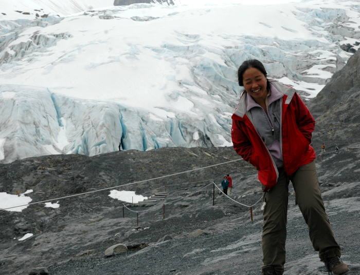 In front of a glacier in Alaska