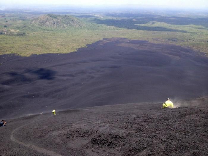 Going down a volcano, Leon, Nicaragua