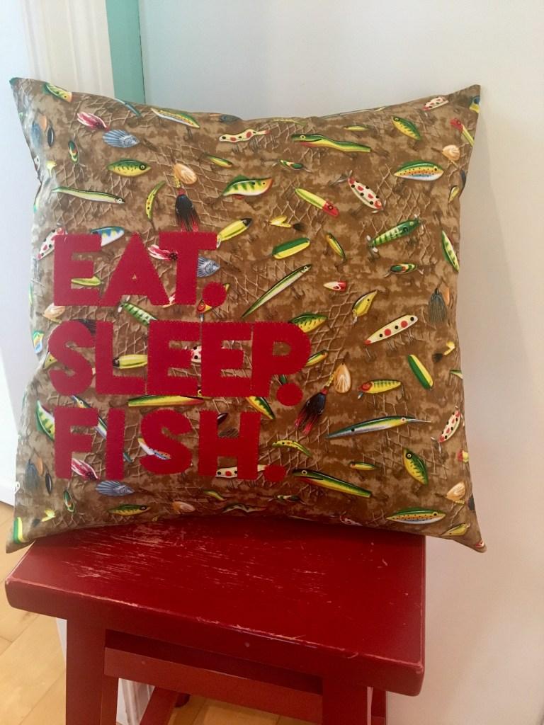 Eat.Sleep.Fish throw pillow