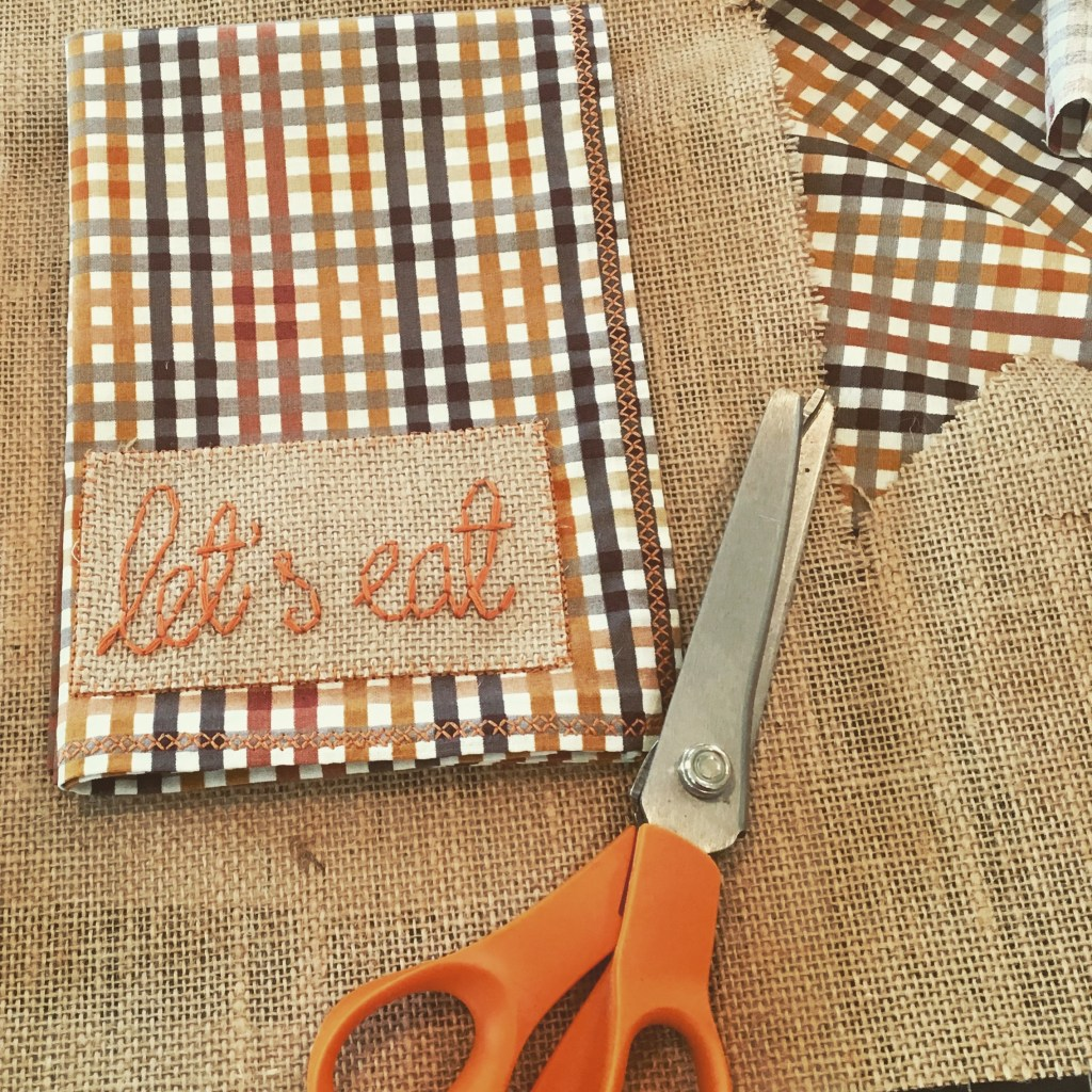 'Let's Eat' Hand Embroidered Custom Napkins