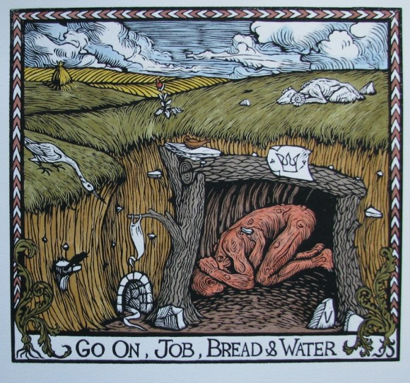 Go On, Job, Bread and Water hand colored