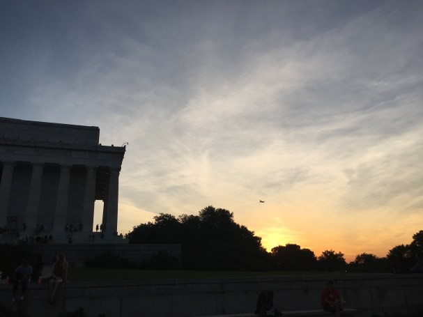 Sunset with Plane and Lincoln Memorial