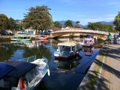 Boats moored along the canal