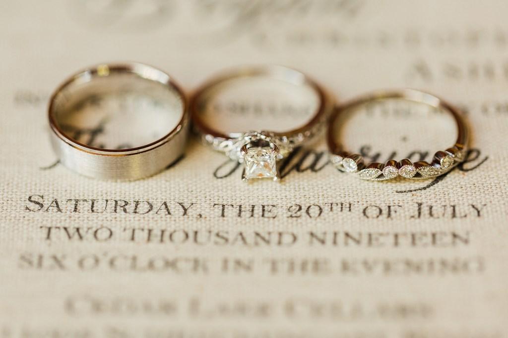 Photo of the canvas invitation and burgundy wedding colors. Wedding venue, Cedar Lake Cellars, Photography by Jackelynn Noel Photography.