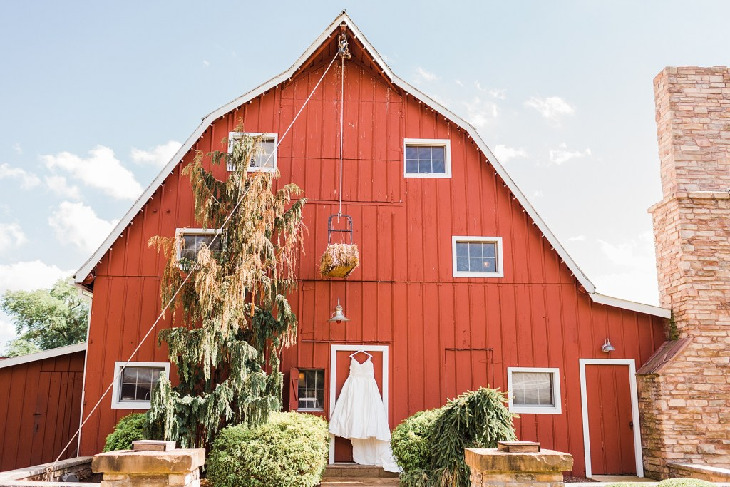 Photo of Nikki's Wedding dress on the Big Red Barn. Wedding venue, Cedar Lake Cellars, Photography by Jackelynn Noel Photography.