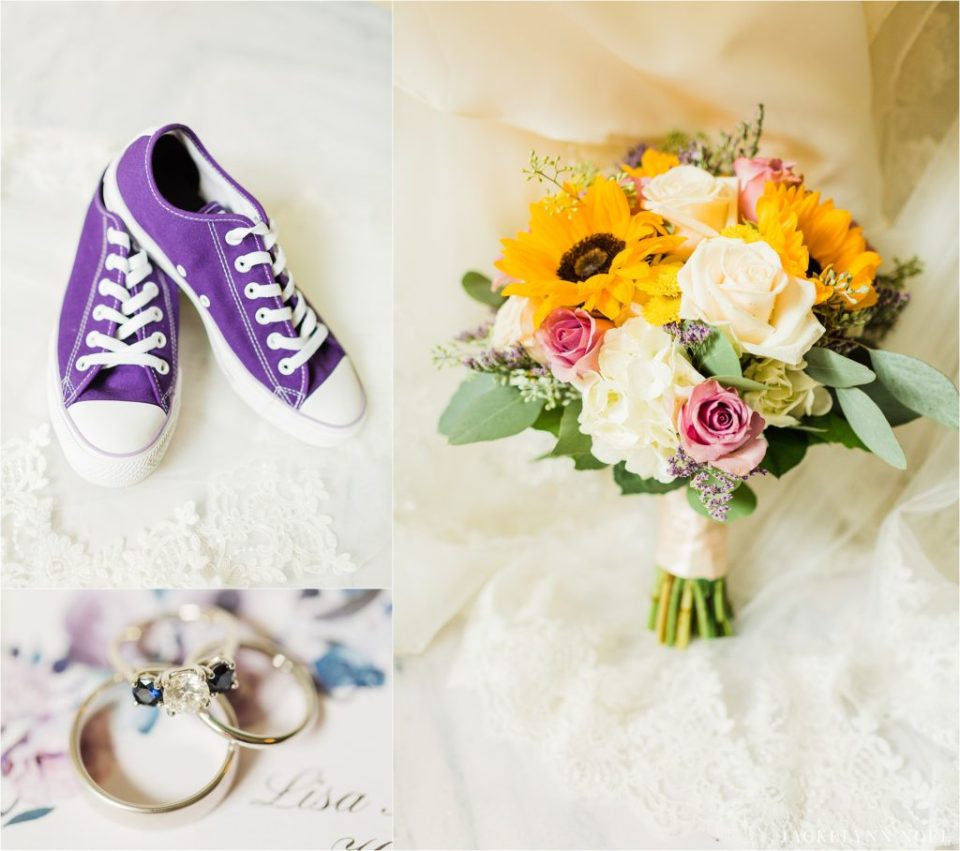 detail photos of Lisa's converse shoes, wedding bands, and flowers