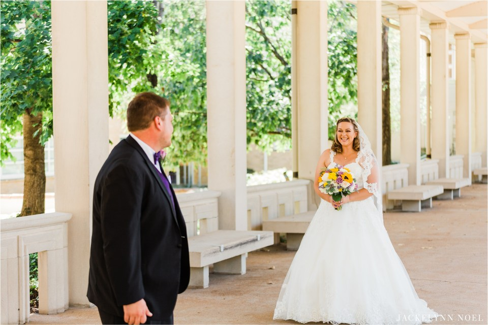 Dan & Lisa see each other for the first time on their wedding day.  They met in the hall of the Muny of Forest Park.