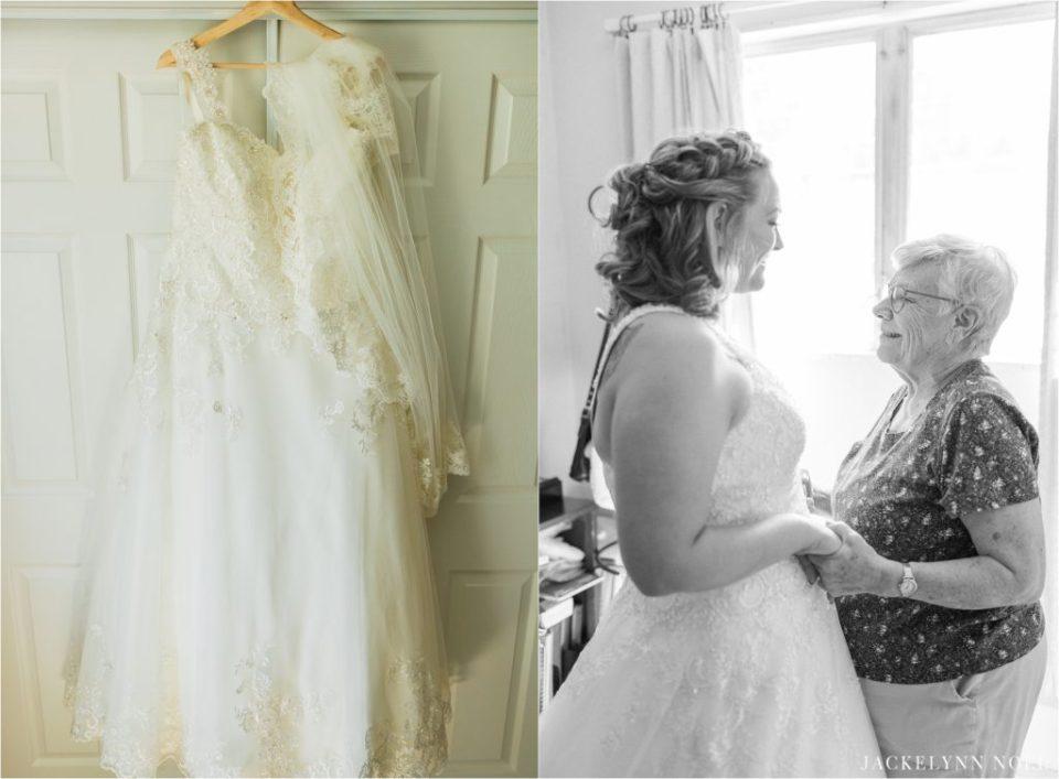 Lisa's dress and a photo of Lisa and her grandmother after Lisa put on her wedding dress