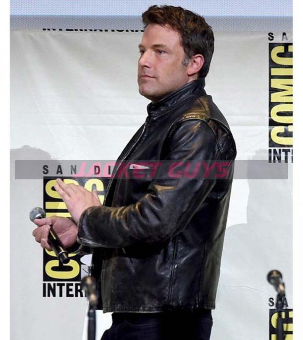 ben affleck casual distressed real black leather biker jacket on sale