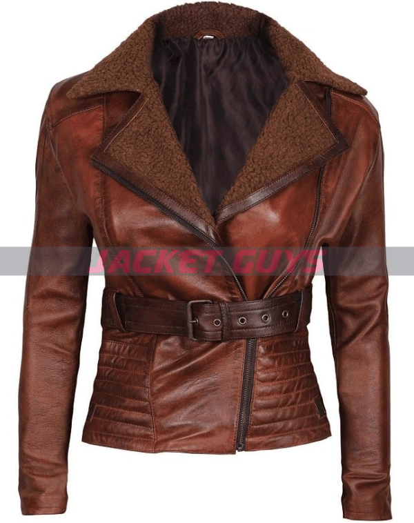 buy now tan brown women leather jacket