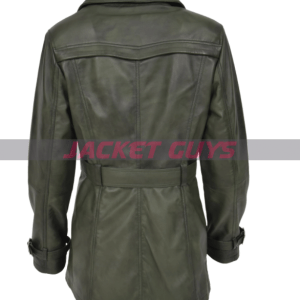women's leather green trench coat shop now
