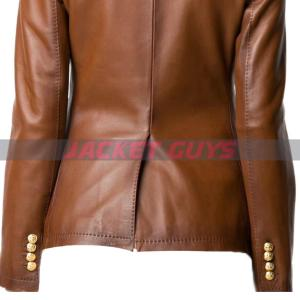 for sale ladies brown leather blazer