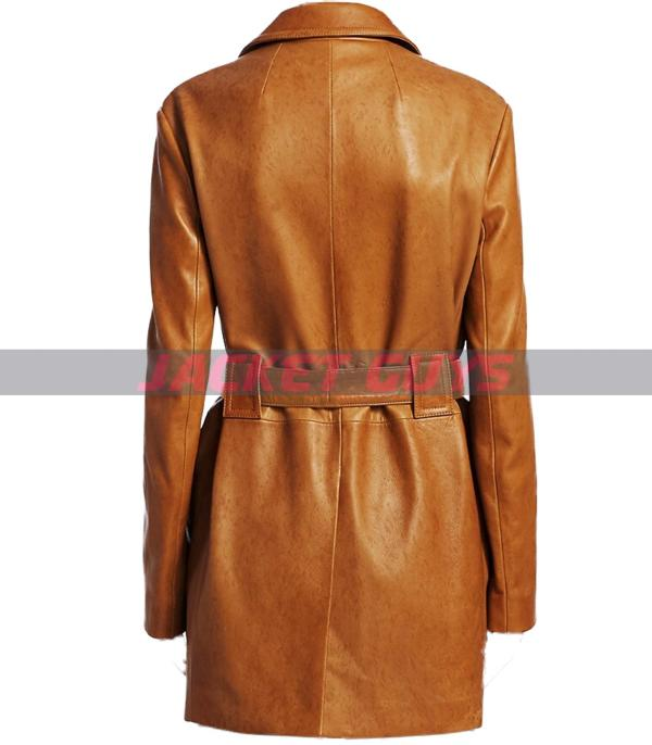 get now kaley cuoco leather trench coat