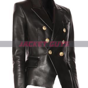 buy now ladies black leather blazer