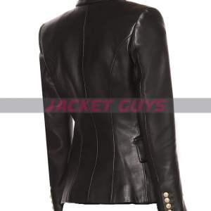 on sale ladies black leather blazer