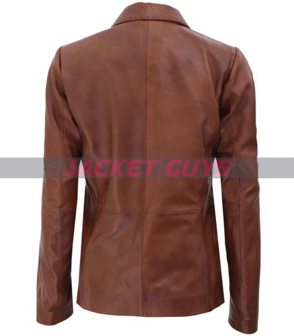 women's leather brown blazer is on sale