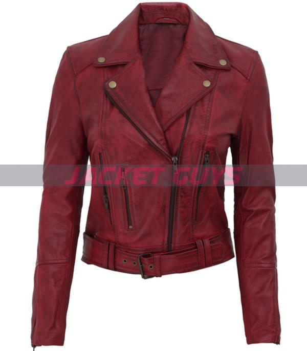 red leather distress jacket
