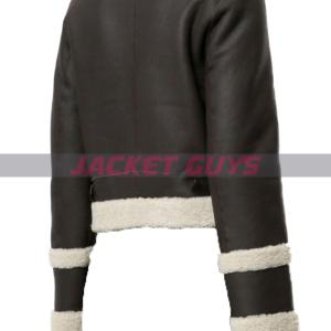 buy now shearling trim leather jacket