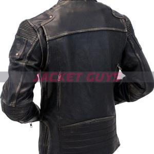 on discount men cafe racer grey leather jacket