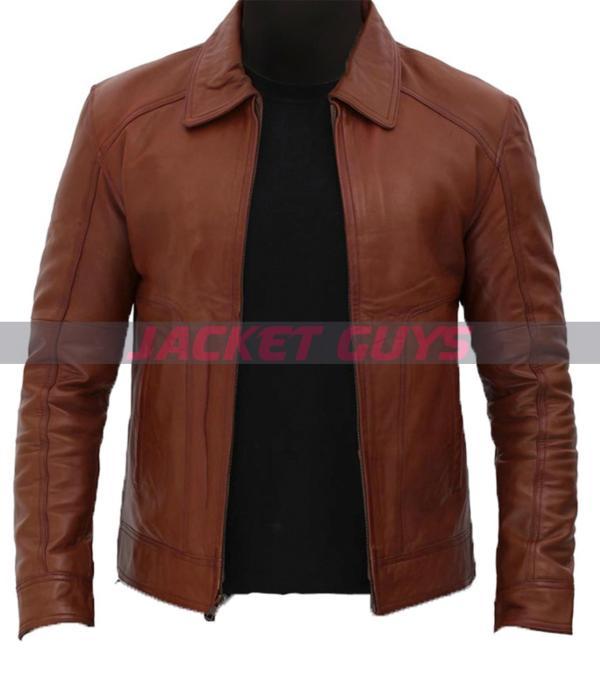 shop men's brown biker leather jacket