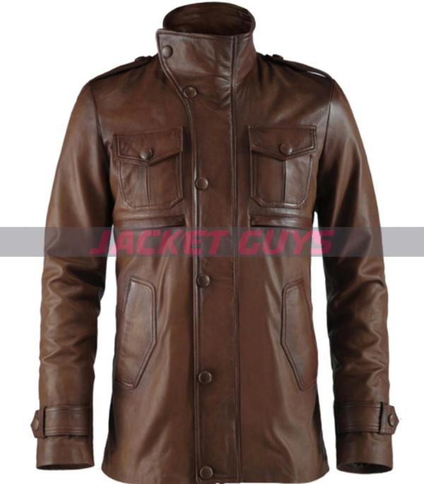 shop now brown leather jacket