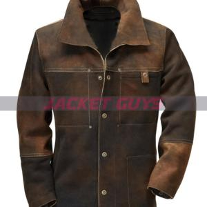 on sale men's distress tanned leather jacket