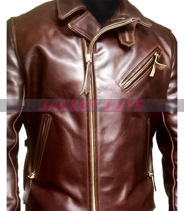 purchase now men heavy duty brown leather jacket