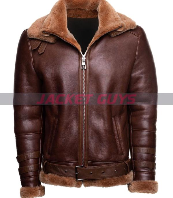 buy now mens aviator shearling leather jacket