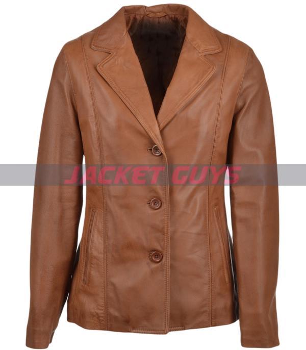 on sale womens leather blazer