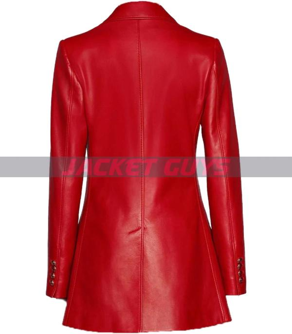 on sale red leather blazer for women
